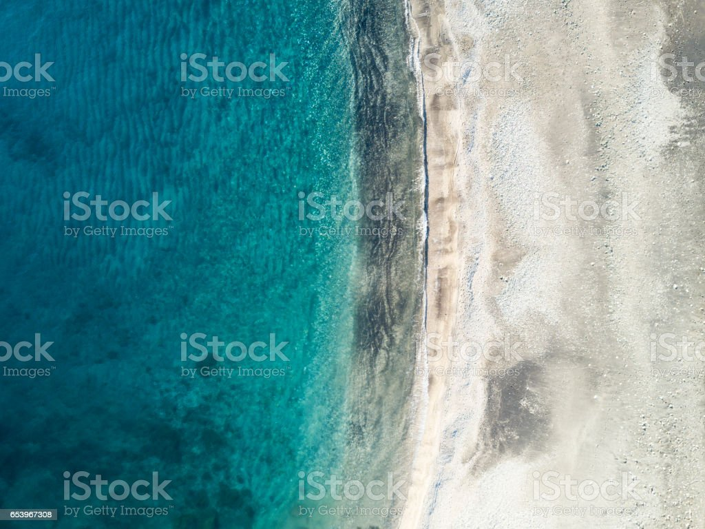 Sea coastline from drone point of view stock photo