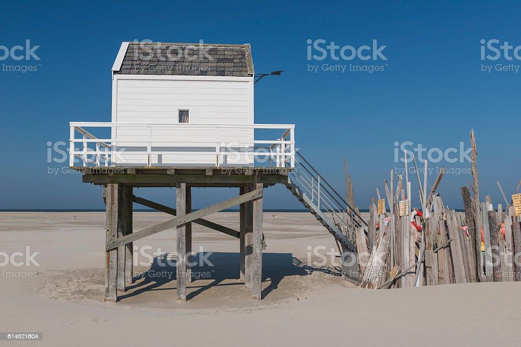Sea cottage on the island of Vlieland. stock photo