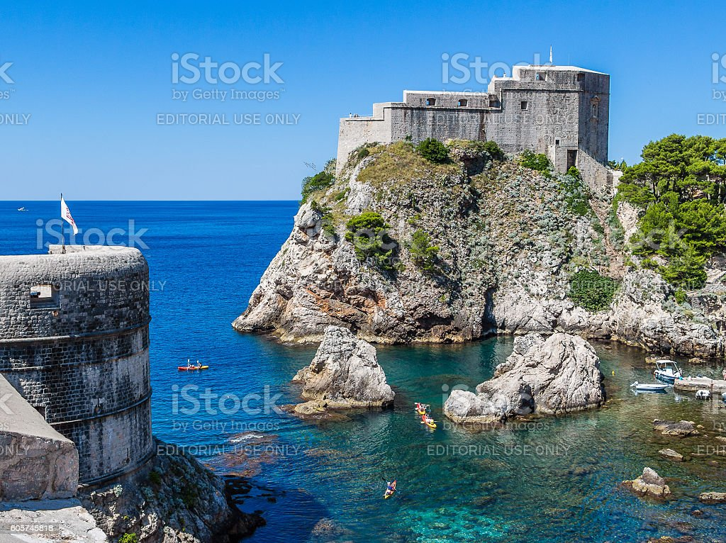 Sea cove under Fort Lovrijenac in Dubrovnik, Croatia stock photo
