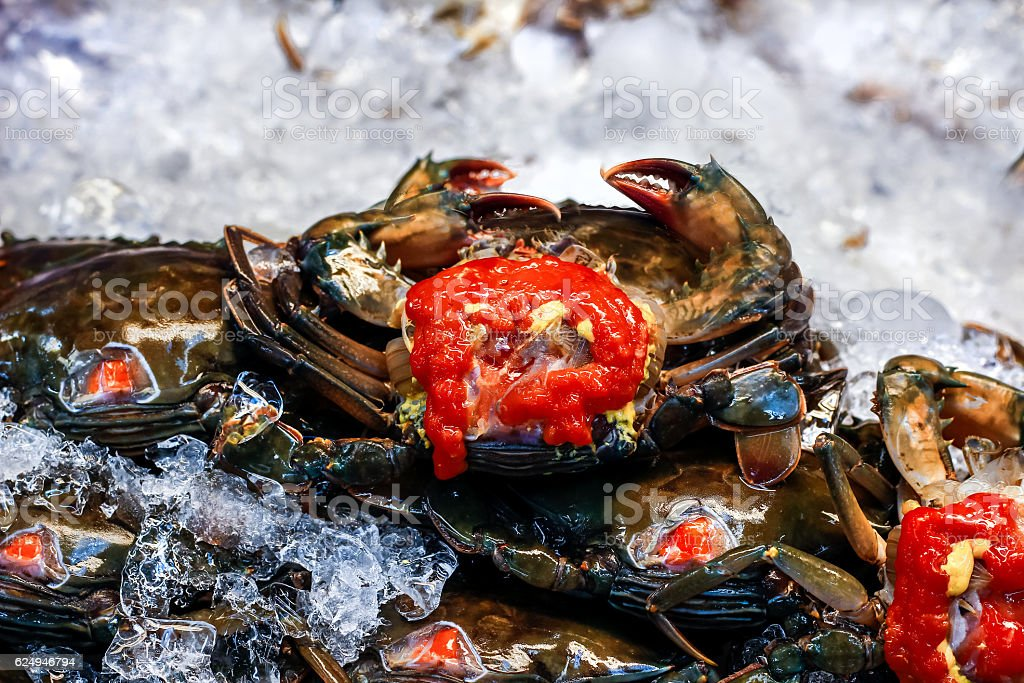 Sea Crab  and Yolk at Supermarket stock photo