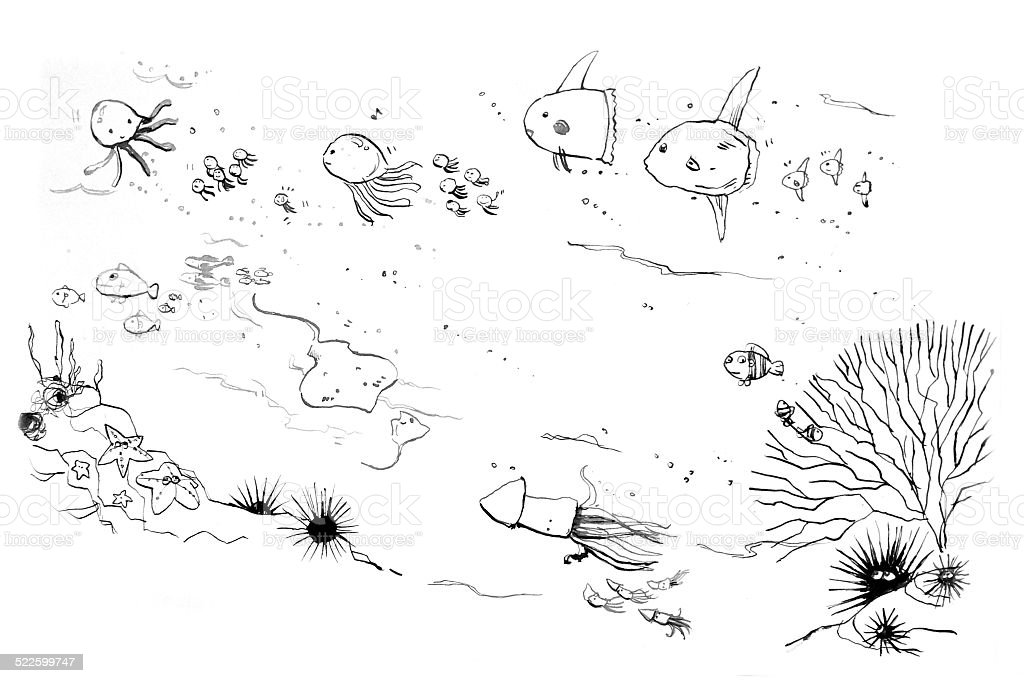 sea creatures moms and kids doodle vector art illustration
