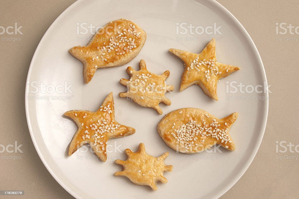 Sea creatures shaped salty crackers stock photo