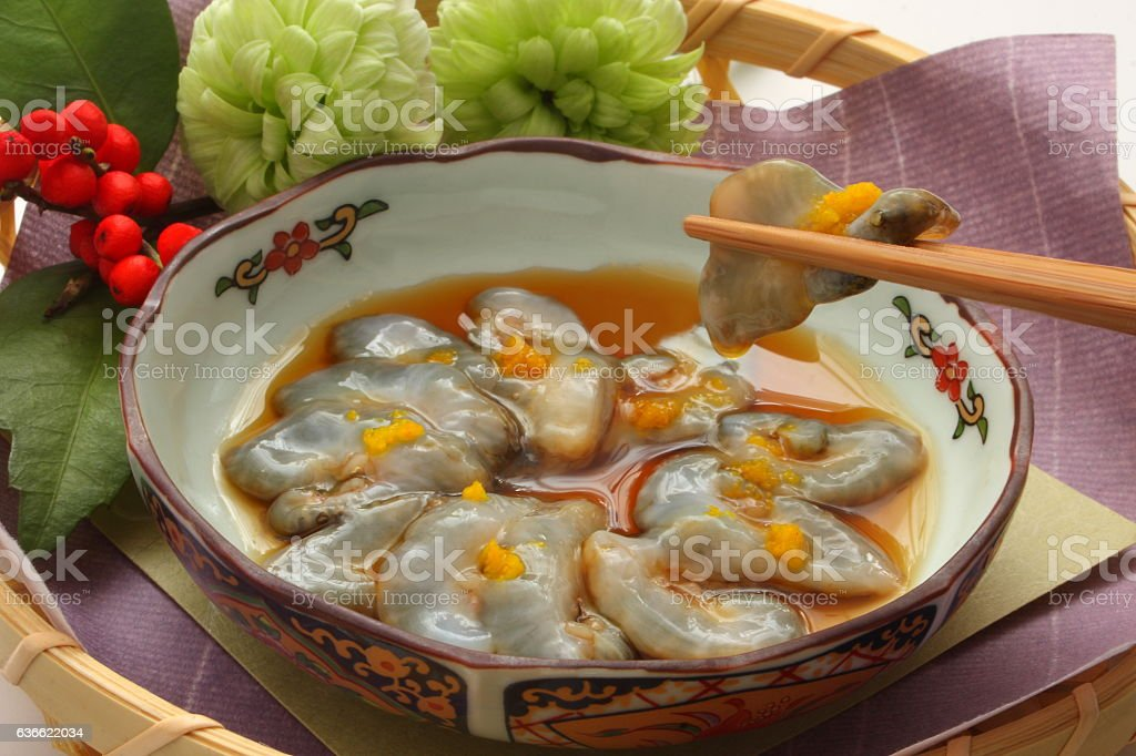 Sea Cucumber Sashimi with Vinegar, Japanese food stock photo