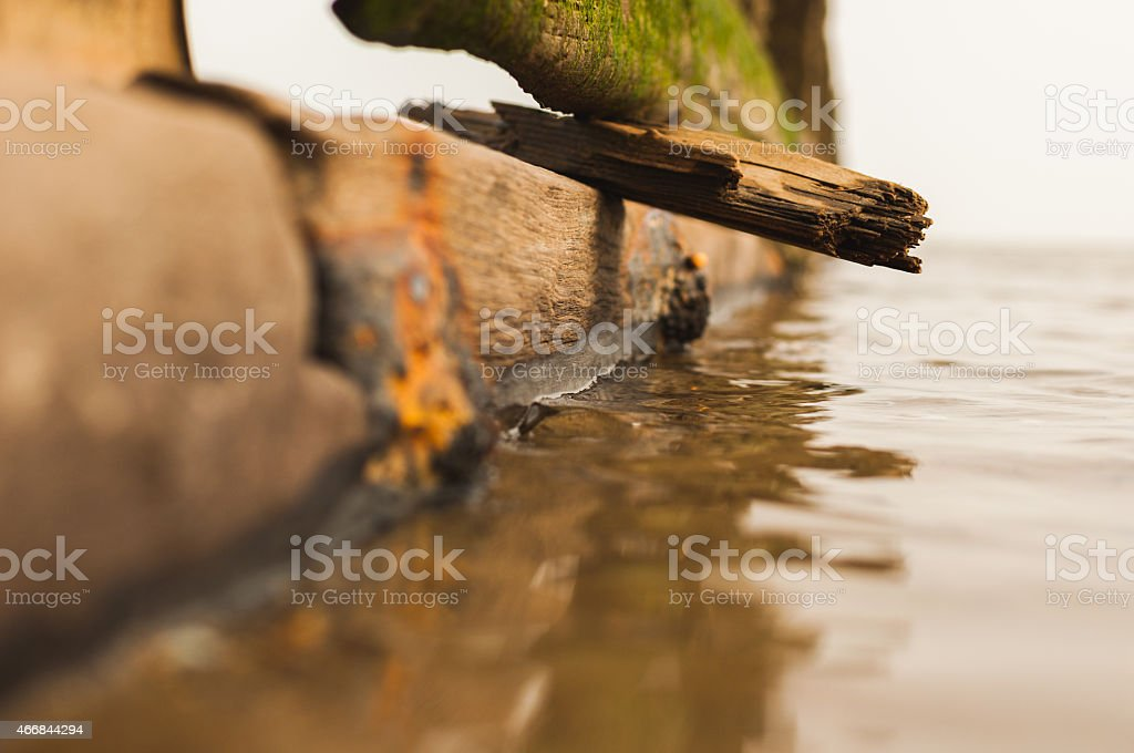 Sea defence drift wood beach stock photo