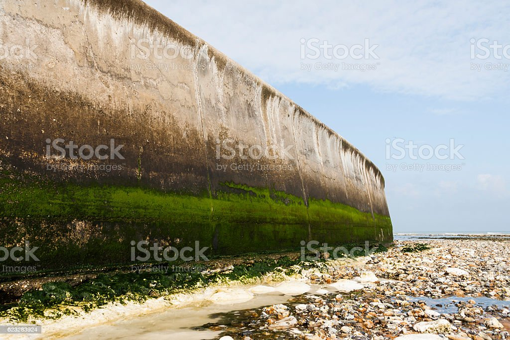 Sea defence wall to prevent coastal erosion in Kent, England stock photo