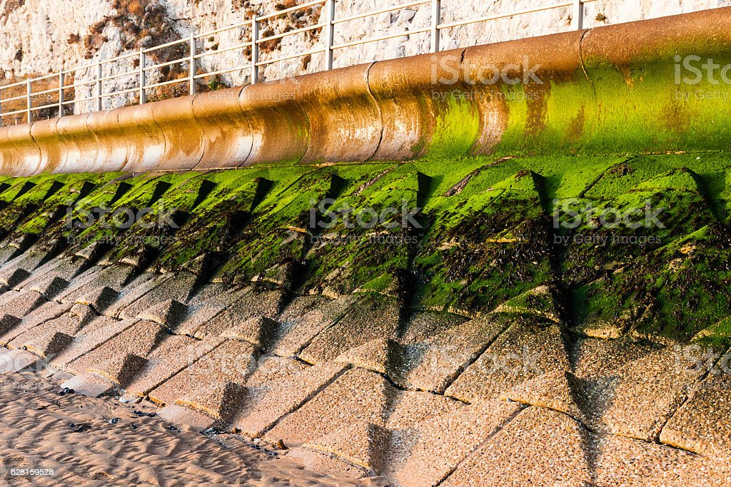 Sea defence wall to prevent coastal erosion near Broadstairs, Kent stock photo