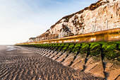 Sea defence wall to prevent coastal erosion near Broadstairs, Kent