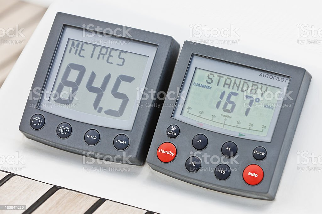 Sea depth meter and autopilot on sailing ship royalty-free stock photo
