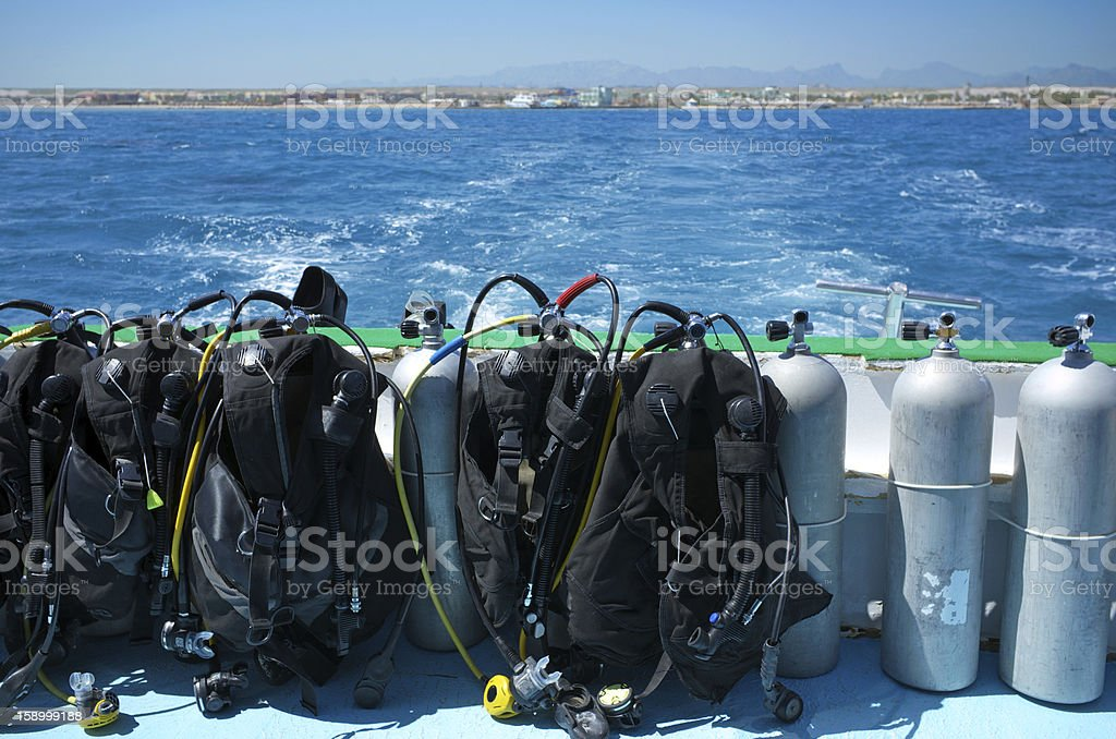 Sea diving tanks stock photo