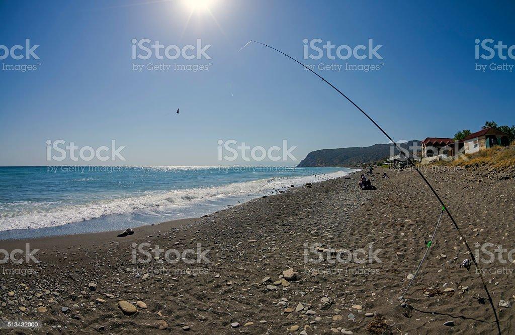 Sea fishing in Crimea. stock photo