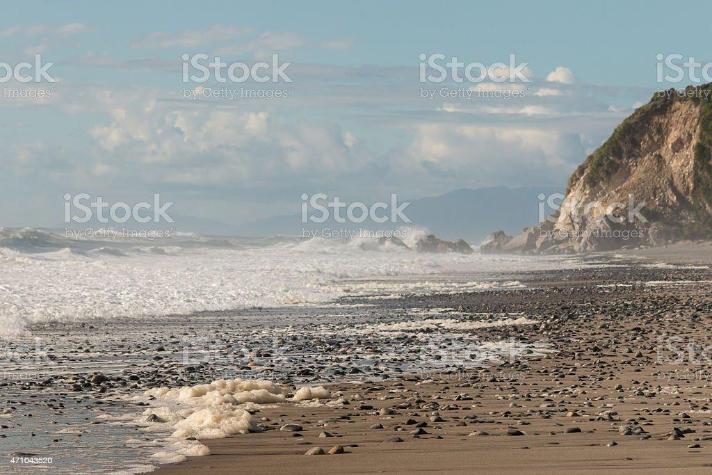 sea foam on sandy beach on West Coast stock photo