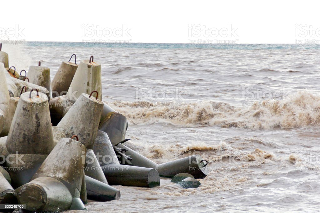 Sea foam waves in it is a nasty day stock photo
