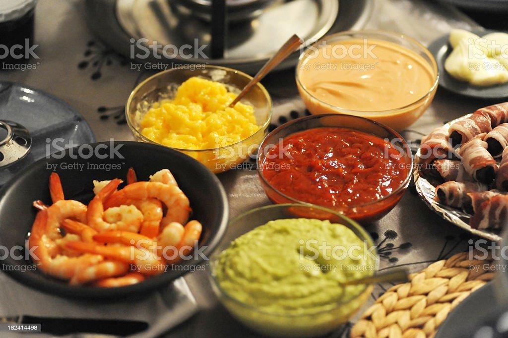 sea food and sauce stock photo