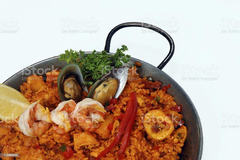 Sea food paella isolated on white royalty-free stock photo