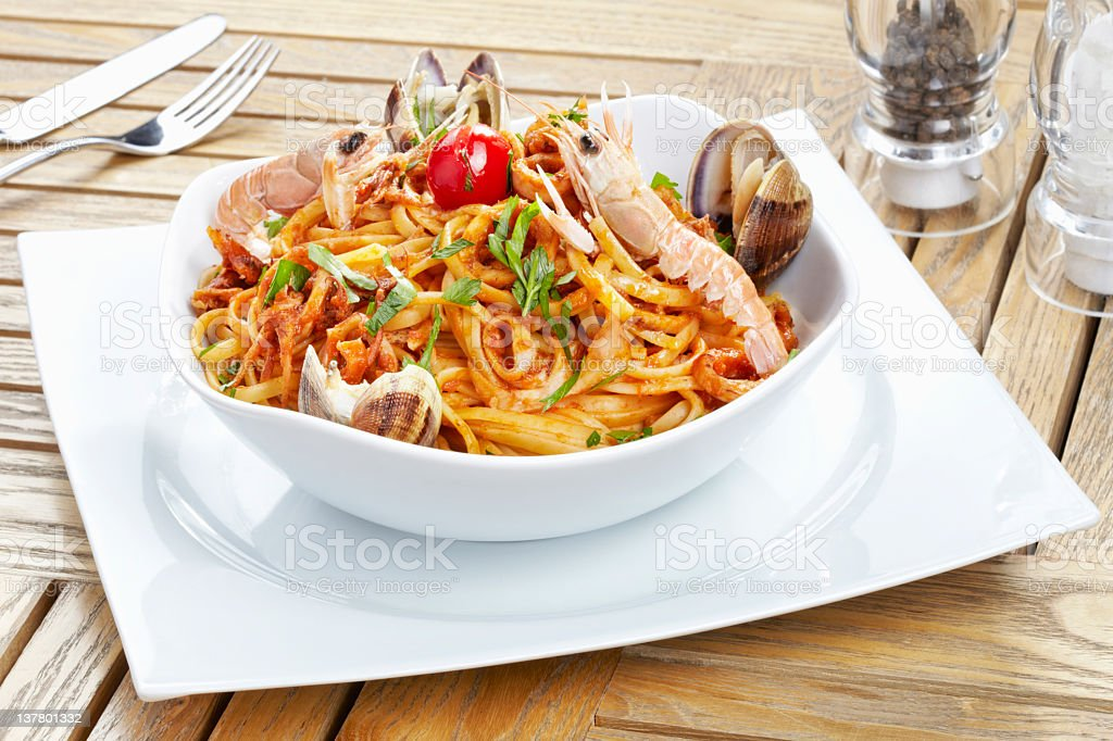 Sea Food Pasta On The Table royalty-free stock photo