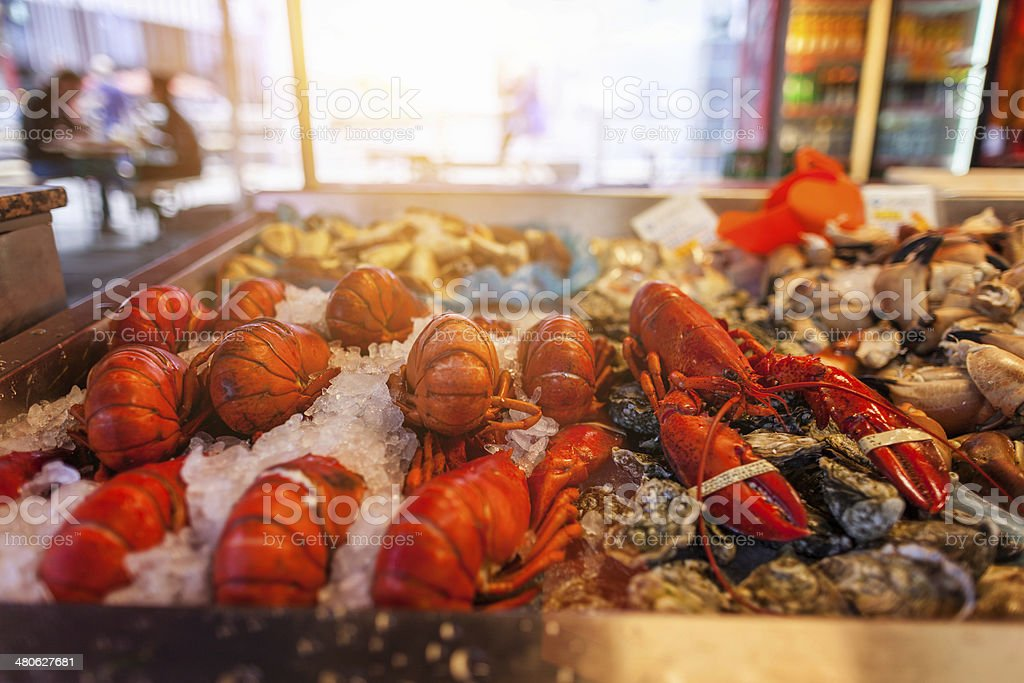 Sea food products at the fish market in Bergen stock photo