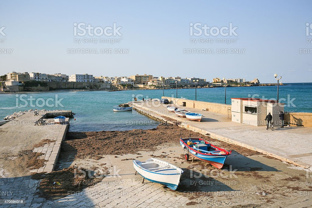 Sea front at the town Otranto, Apulia, Italy stock photo