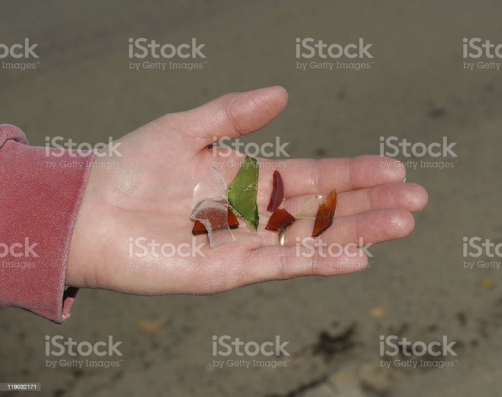 Sea glass found on Pemaquid Peninsula beach in Maine royalty-free stock photo