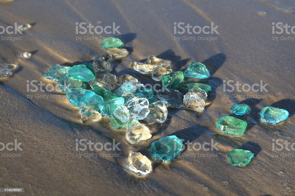 Sea Glass on Sand stock photo