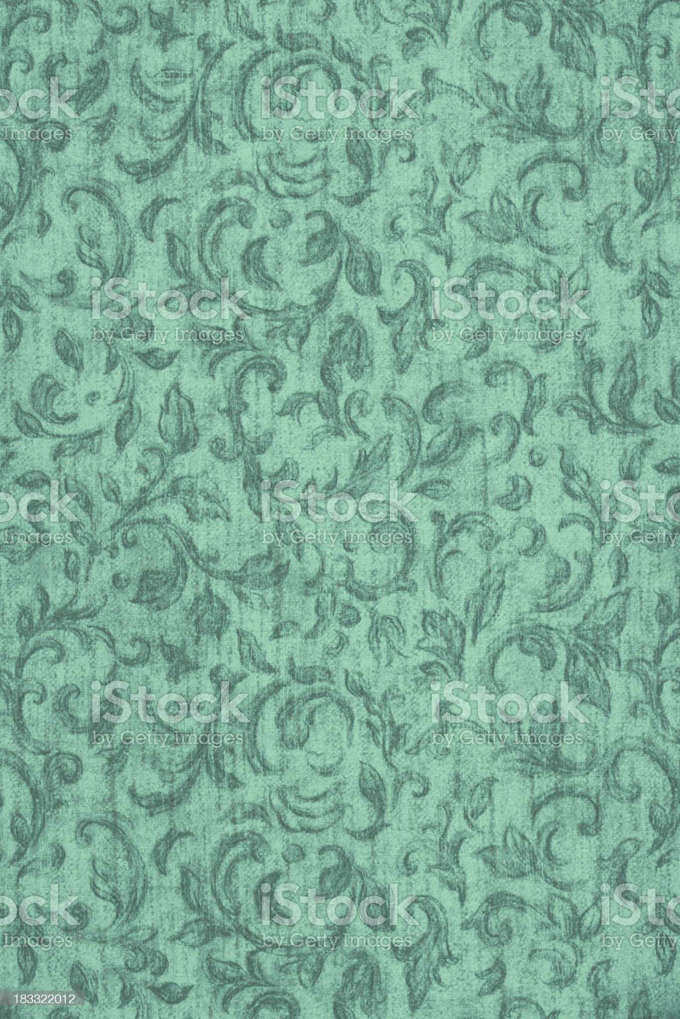 Sea Green Colored Floral Pattern royalty-free stock photo