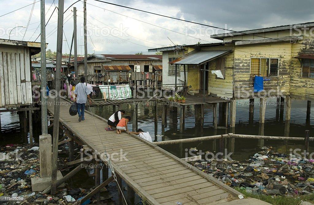 Sea Gypsies Homes in Borneo royalty-free stock photo
