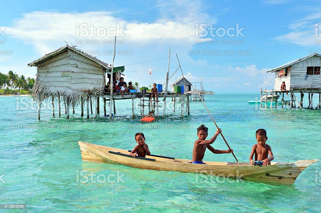 Sea gypsies kids stock photo