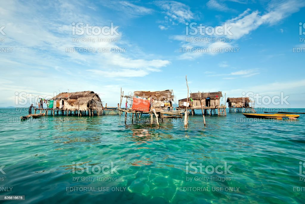 Sea Gypsy or also known as Bajau Laut Stilted House Village stock photo