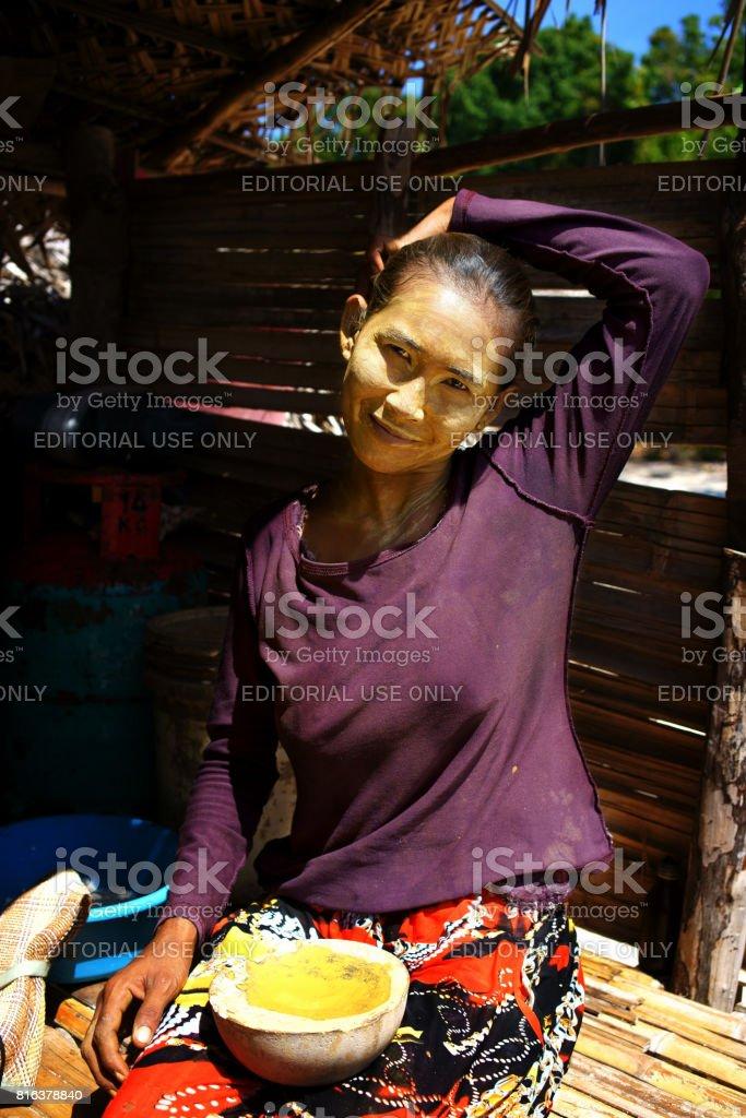 Sea gypsy woman stock photo