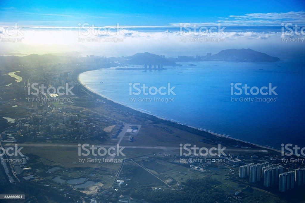 sea, harbor, blue, sky, looking down, stock photo