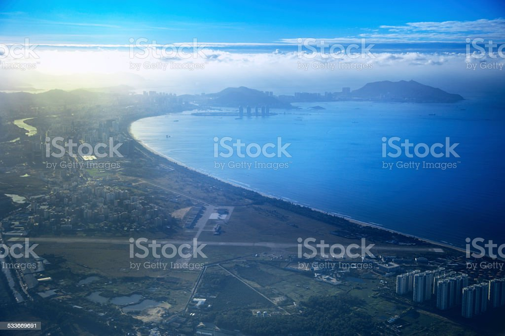 sea, harbor, blue, sky, looking down, stock photo