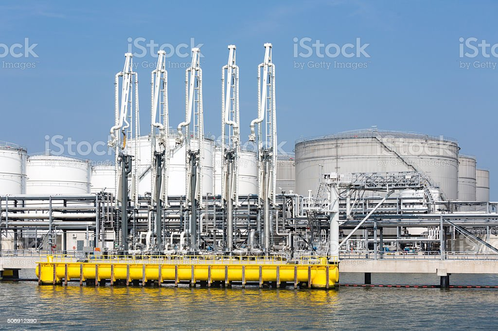 Sea harbor with transhipment equipment for oil tankers stock photo