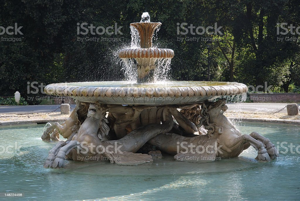 Sea houres Fountain, Borghese gardens stock photo