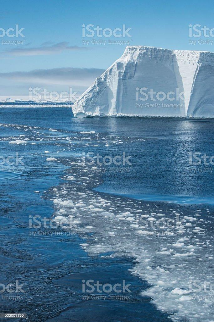 Sea Ice and Tabular icebergs, Antarctic Sound stock photo