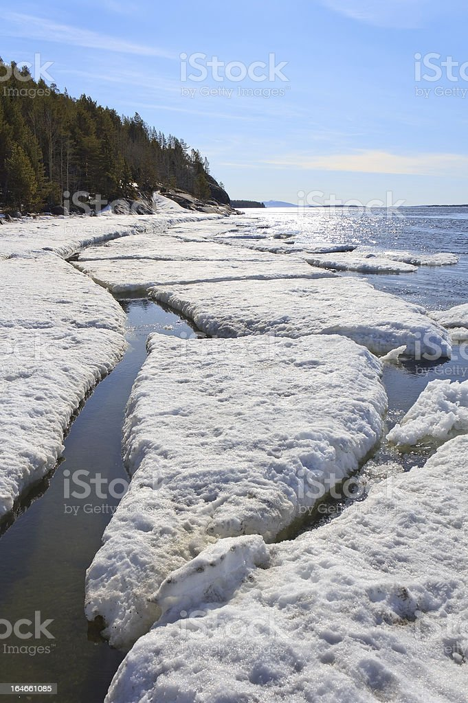 Sea ice is destroyed in the spring stock photo