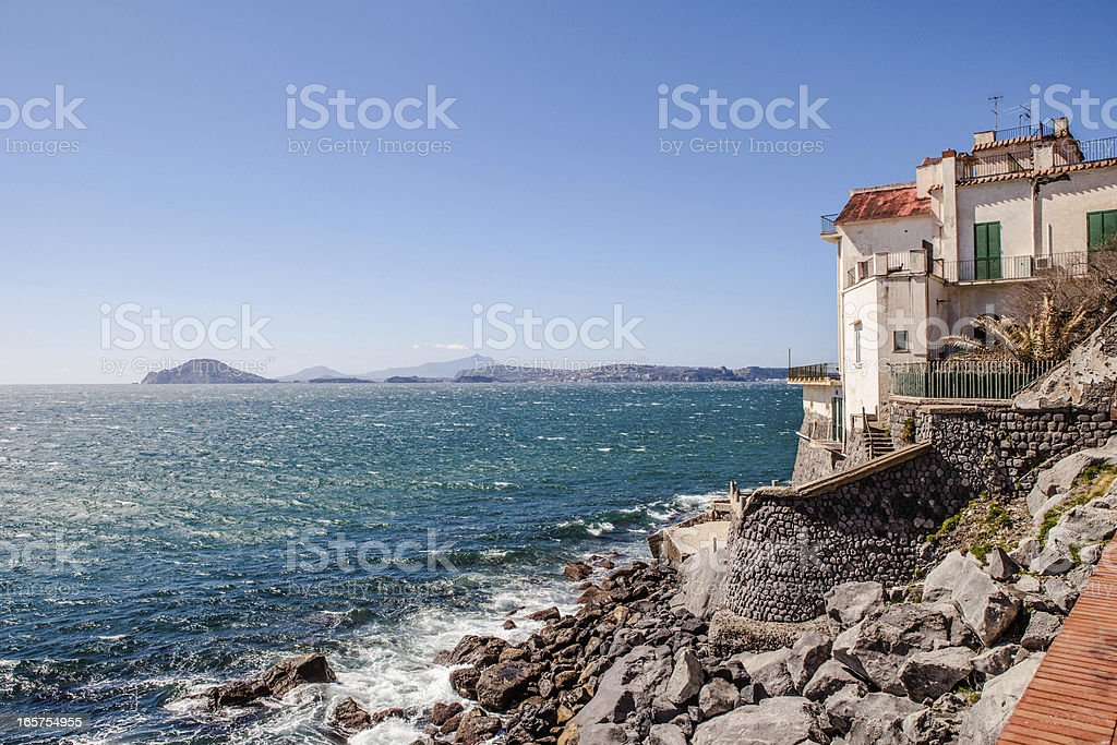 Sea in Bay of Naples stock photo