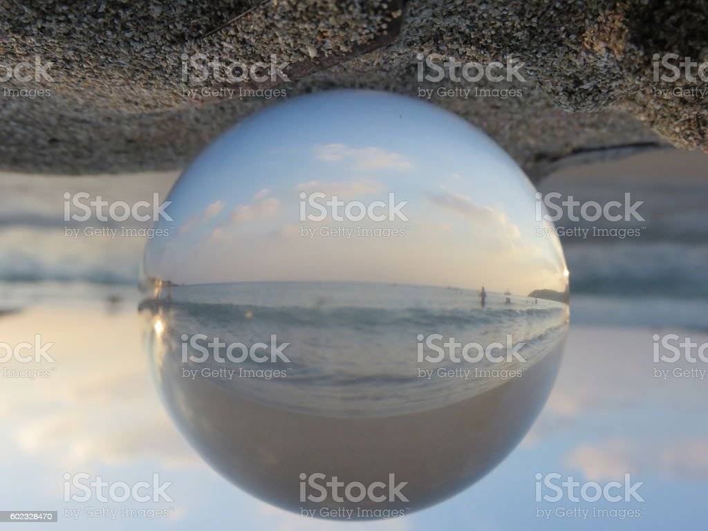 Sea in crystal ball stock photo