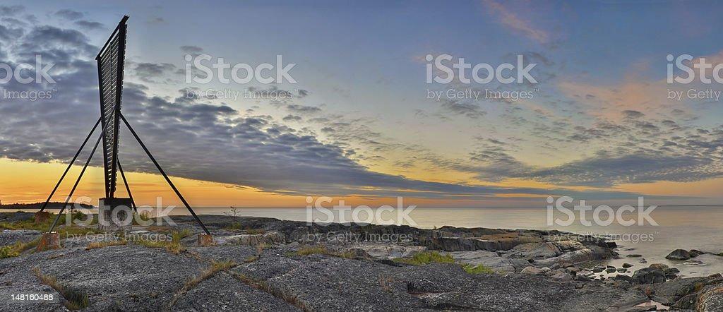 Sea just before sunrise stock photo