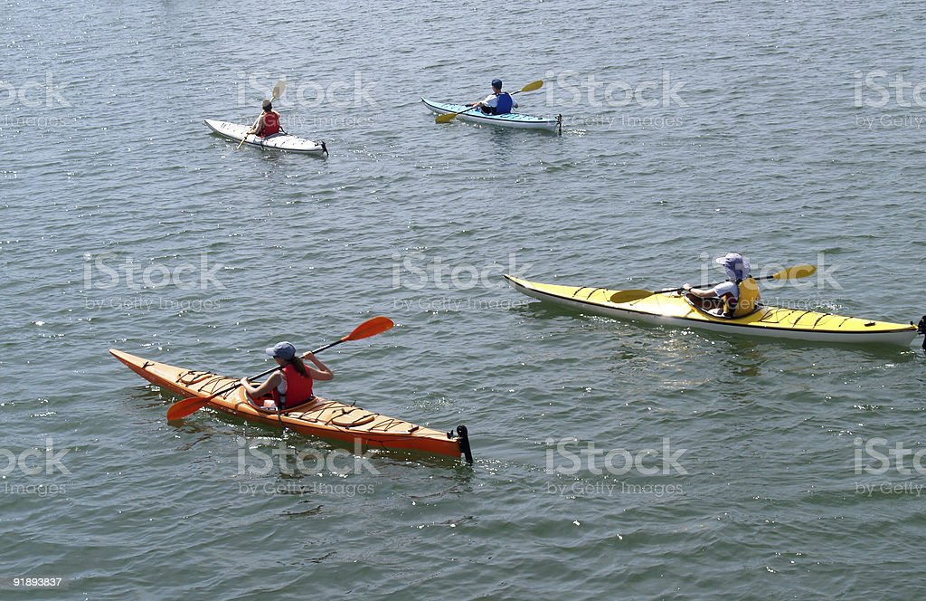 Sea Kayak Convoy royalty-free stock photo