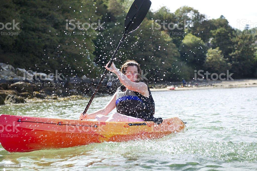 sea kayak lady royalty-free stock photo