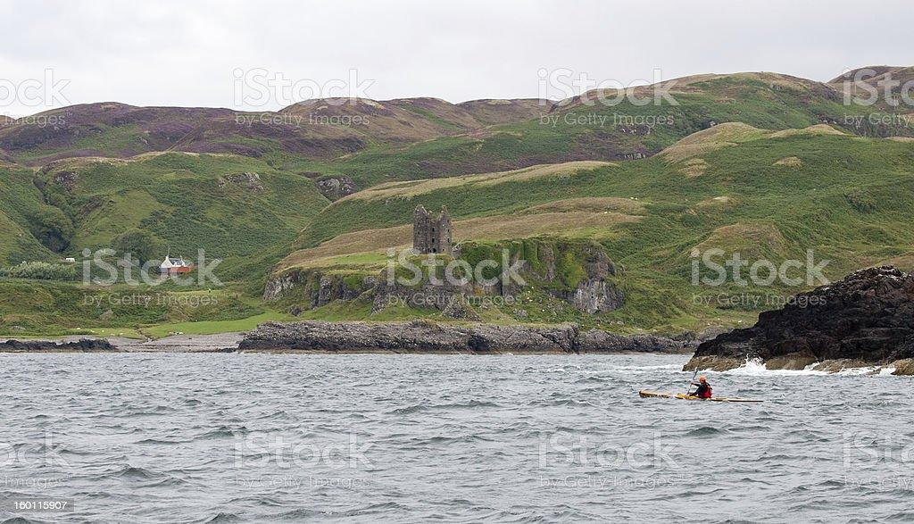 Sea Kayaker passes Castle Gylen, Kerrera, Argyll stock photo