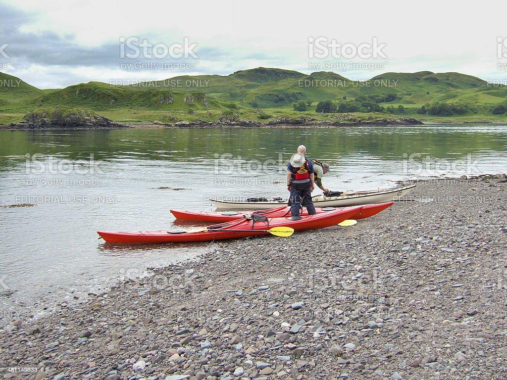 Sea Kayaking in Scotland stock photo