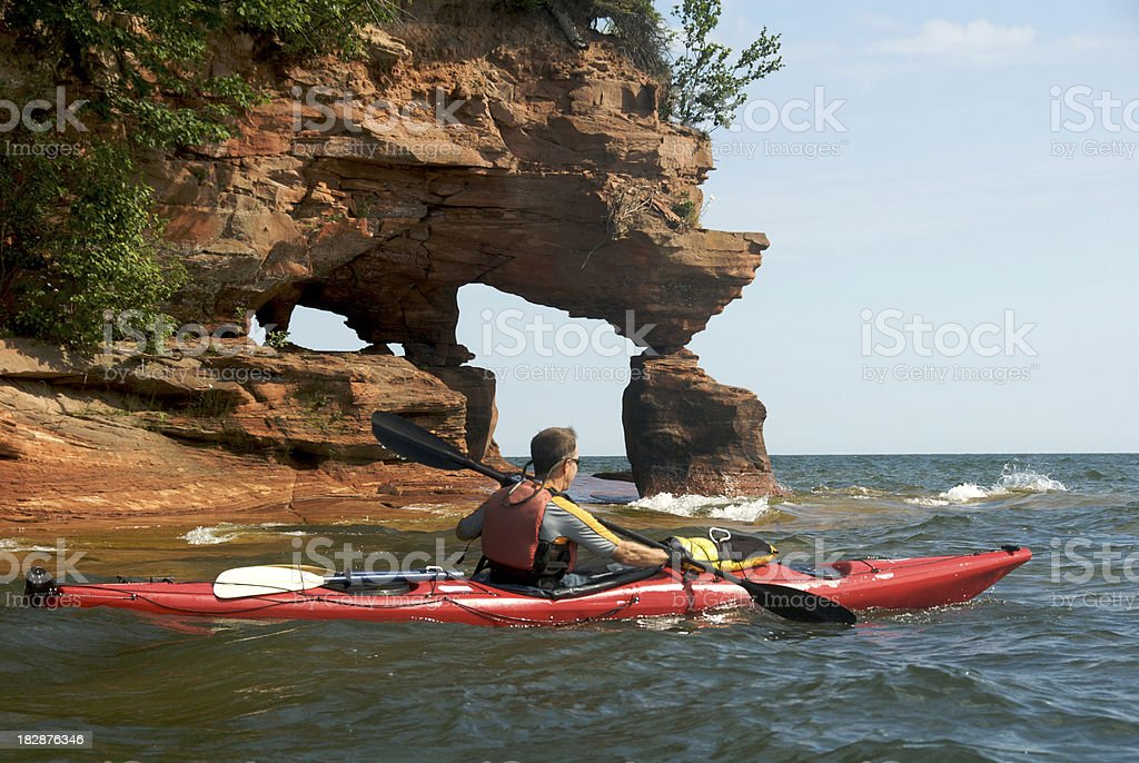 Sea Kayaking on Lake Superior stock photo
