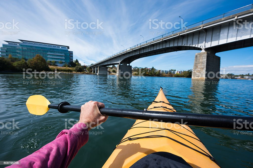 Sea Kayaking POV stock photo