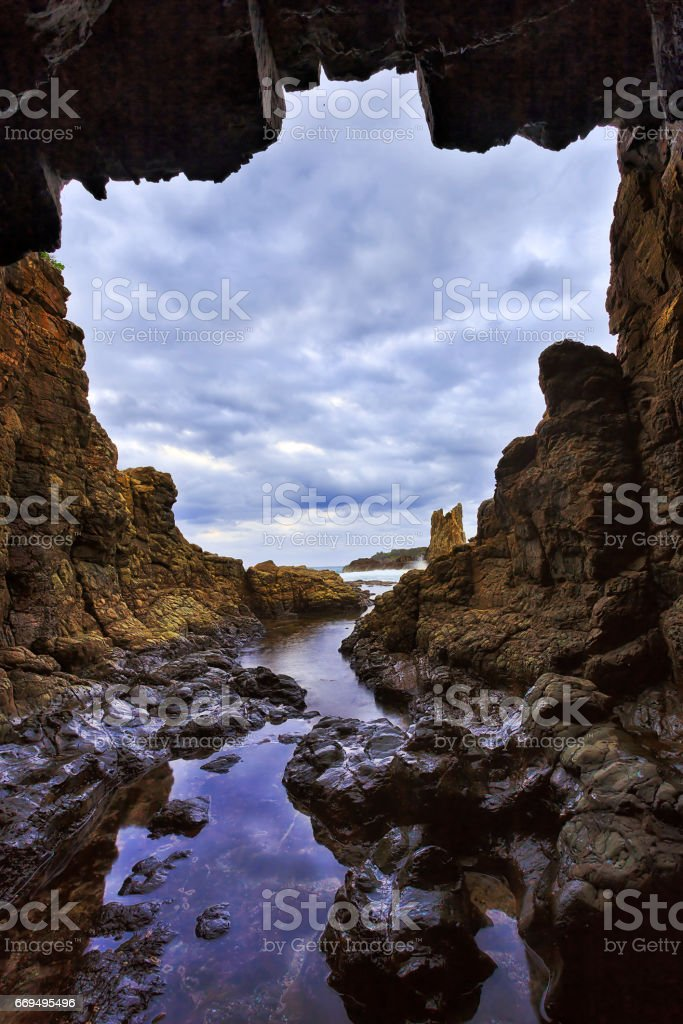 Sea Kiama Cave vert stock photo