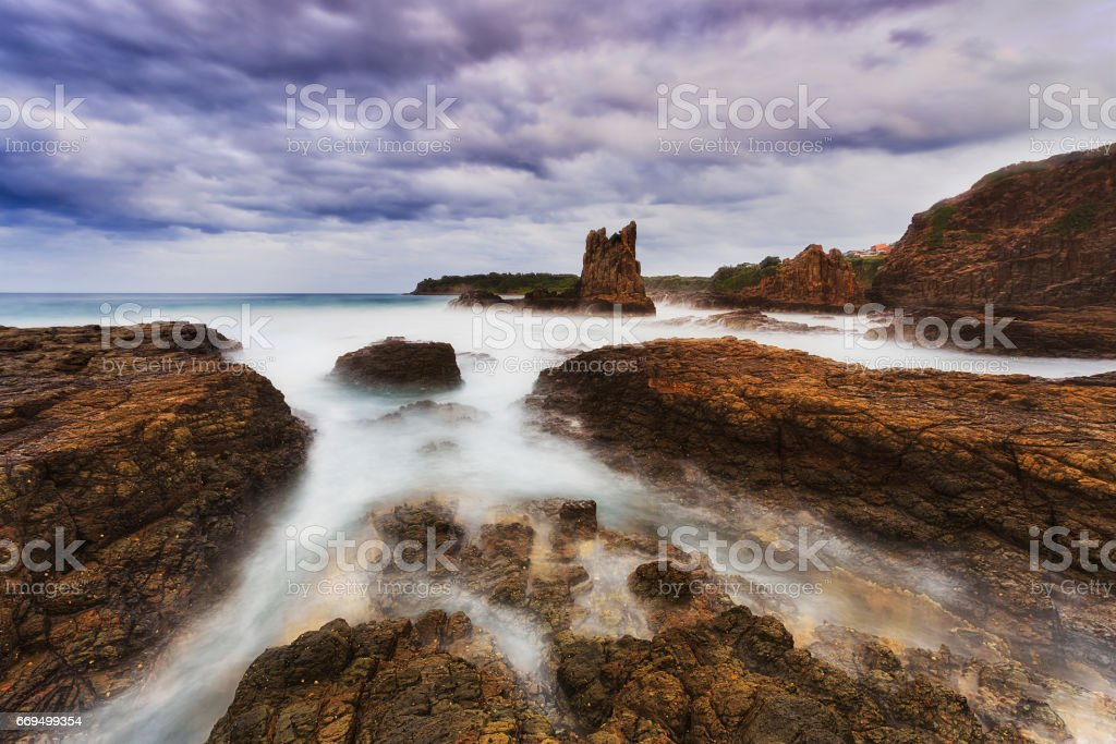 Sea Kiama X rocks stock photo