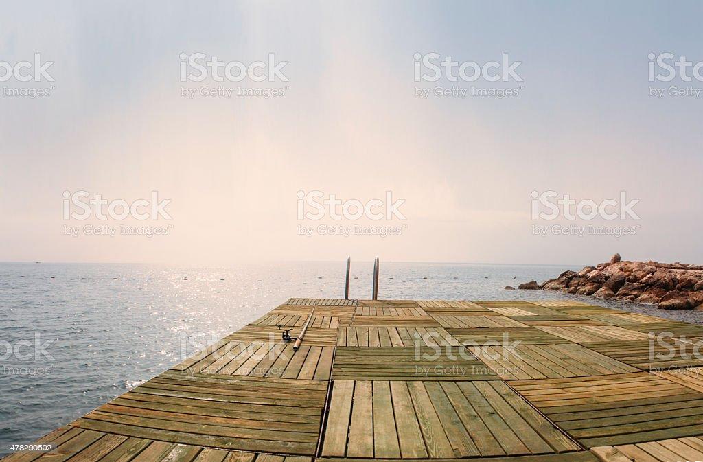 sea ladder, tourism travel destination stock photo