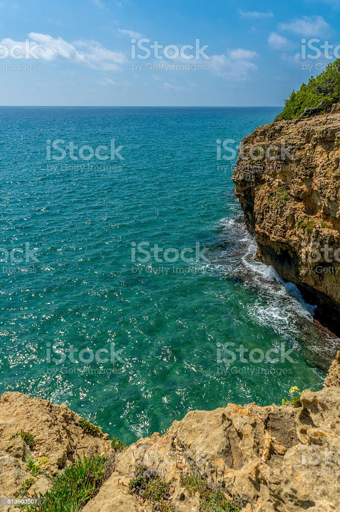 Sea Landscape from the top ot the rocks stock photo
