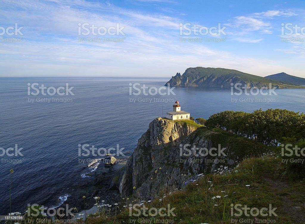 Sea landscape with a beacon stock photo