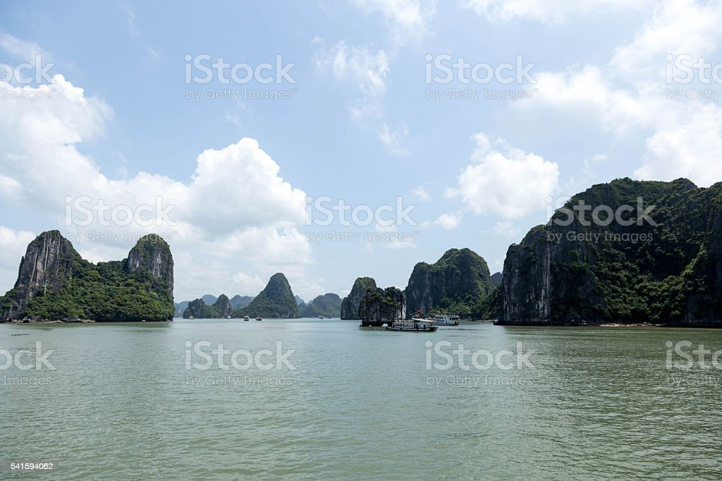 Sea landscape with tourist boat in Halong Bay Vietnam stock photo