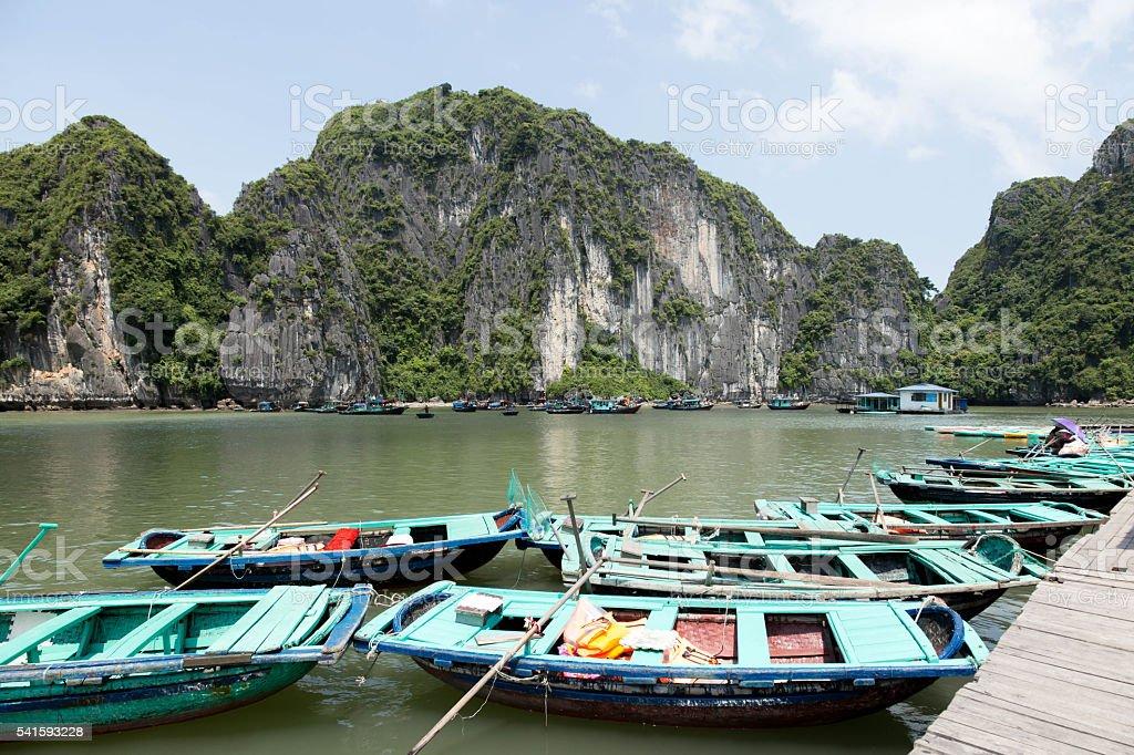 Sea landscape with Tourist Gondola  boat in Halong Bay Vietnam stock photo